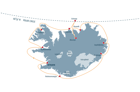 Map for Iceland Circumnavigation (Ocean Diamond)